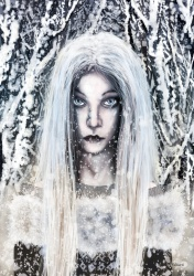 """Holda which means """"gracious one"""" is a highly revered Teutonic Goddess. Holda is closely associated with Winter and Yule as it is Holda that brings the snow. Holda can tell the naughty children from the good and rides thru the sky on Yule Eve."""