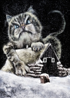 Jólakötturinn the Yule Cat A monster from Icelandic folklore, a huge and vicious cat said to haunt the snowy countryside during Christmas time.